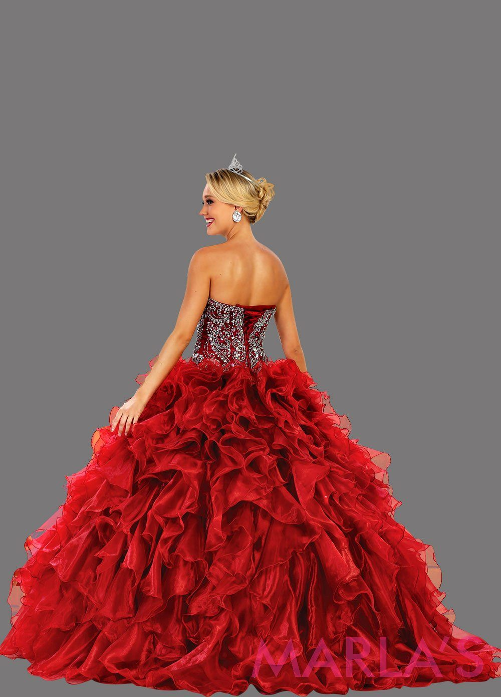 Back of Long strapless burgundy red ball gown with rhinestone top and ruffle skirt. Perfect for Engagement dress, Quinceanera, Sweet 16, Sweet 15, Debut, and dark red Wedding Reception Dress. Available in plus sizes