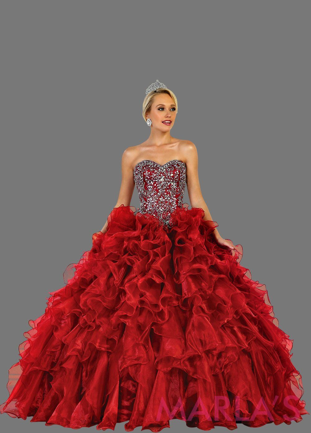 Long strapless burgundy red ball gown with rhinestone top and ruffle skirt. Perfect for Engagement dress, Quinceanera, Sweet 16, Sweet 15, Debut, and dark red Wedding Reception Dress. Available in plus sizes