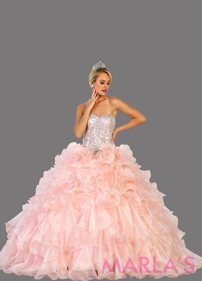 Long strapless blush pink ball gown with rhinestone top and ruffle skirt. Perfect for Engagement dress, Quinceanera, Sweet 16, Sweet 15, Debut, and light pink Wedding Reception Dress. Available in plus sizes