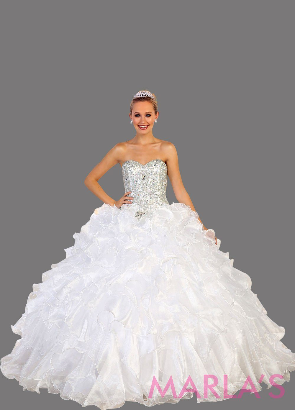 Long strapless white ball gown with rhinestone top and ruffle skirt. Perfect for Engagement dress, Quinceanera, Sweet 16, Sweet 15, Debut, and white Wedding Reception Dress, bridal dress Available in plus sizes