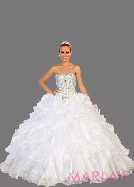 c43788b647 Long strapless white ball gown with rhinestone top and ruffle skirt.  Perfect for Engagement dress