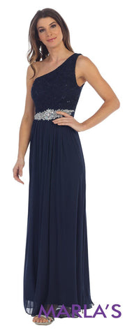 Long One Shoulder Navy Dress
