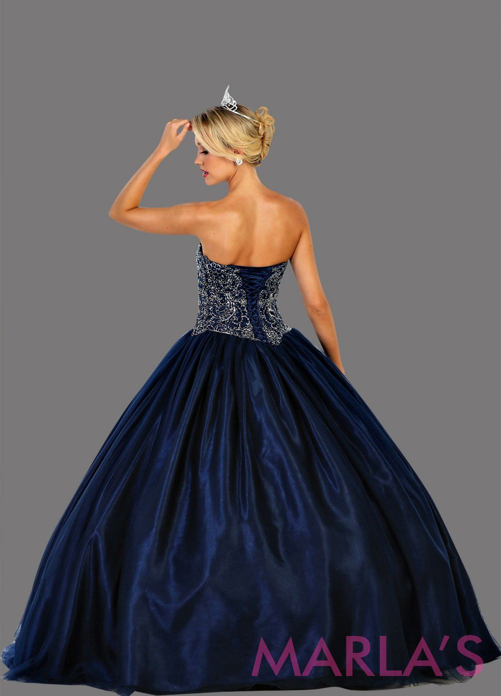 Back of Long strapless navy blue ball gown with beaded top.  Perfect for Engagement dress, Quinceanera, Sweet 16, Sweet 15, Debut, and dark blue Wedding Reception Dress. Available in plus size.