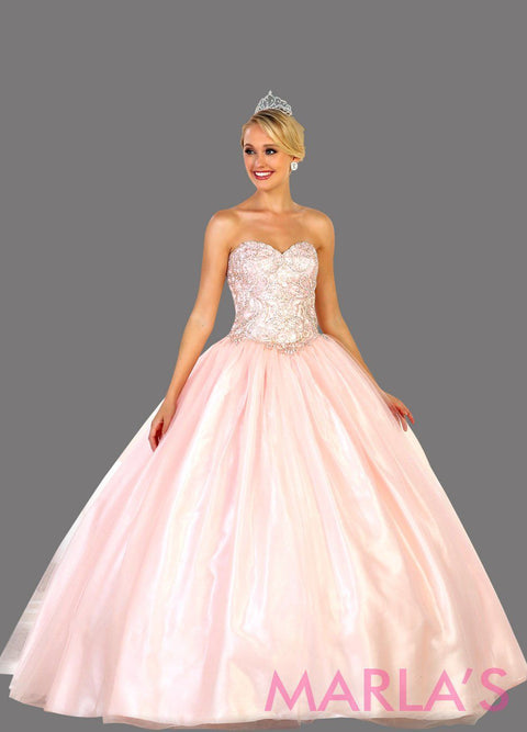 Long strapless blush pink ball gown with beaded top. Perfect for Engagement dress, Quinceanera, Sweet 16, Sweet 15, Debut, and dark red Wedding Reception Dress. Available in plus size.