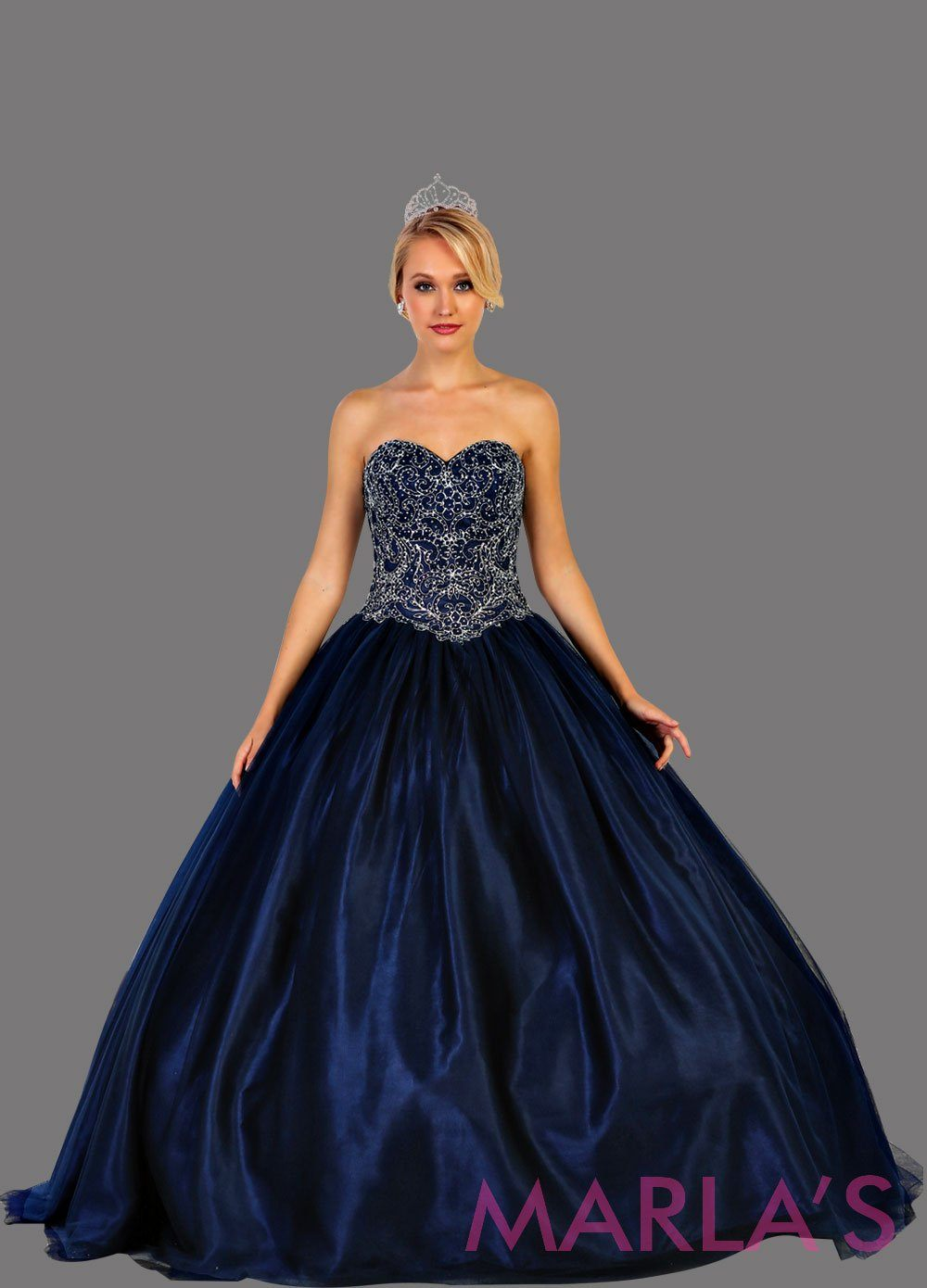 Long strapless navy blue ball gown with beaded top.  Perfect for Engagement dress, Quinceanera, Sweet 16, Sweet 15, Debut, and dark blue Wedding Reception Dress. Available in plus size.