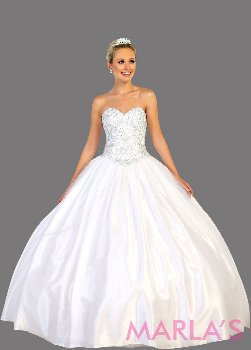 Long strapless white ball gown with beaded top.  Perfect for Engagement dress, Quinceanera, Sweet 16, Sweet 15, Debut, and white Wedding Reception Dress. Available in plus size.