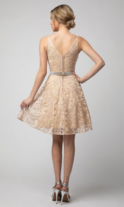 Juno - 1047 Embroidered A-Line Cocktail Dress In Champagne & Gold