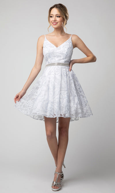 Juno - 1047 Embroidered A-Line Cocktail Dress In White