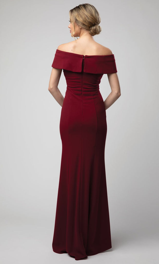 Juno - 1049 Off Shoulder Mermaid Gown With High Slit In Burgundy
