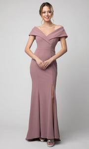 Juno - 1049 Off Shoulder Mermaid Gown With High Slit In Purple
