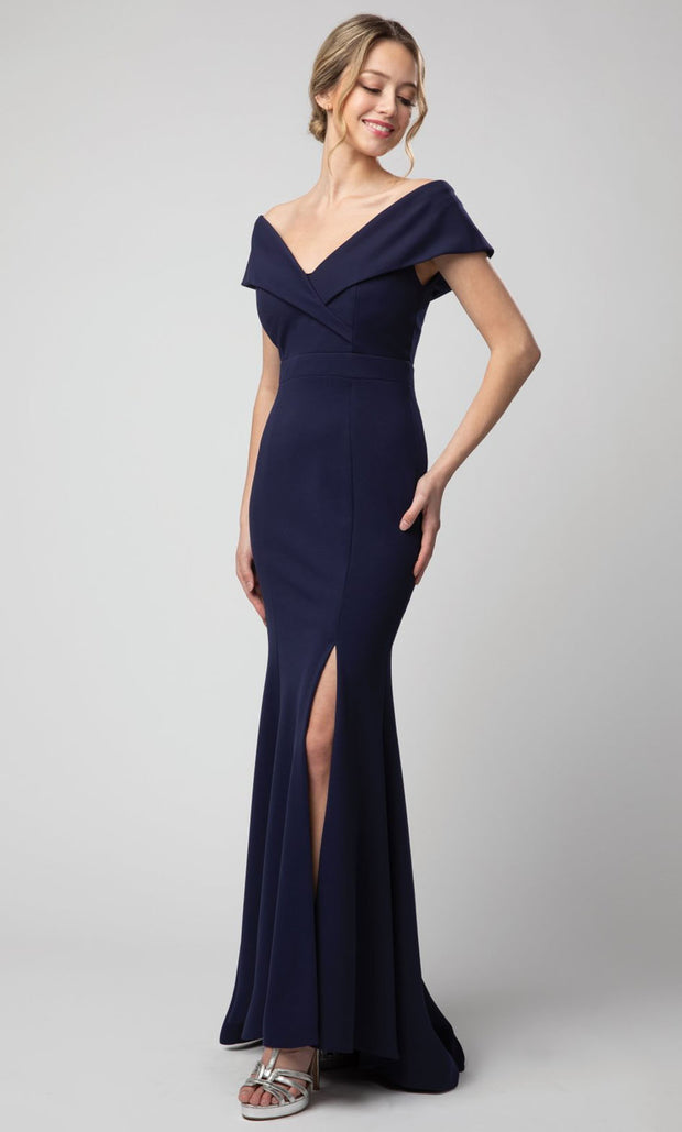Juno - 1049 Off Shoulder Mermaid Gown With High Slit In Blue
