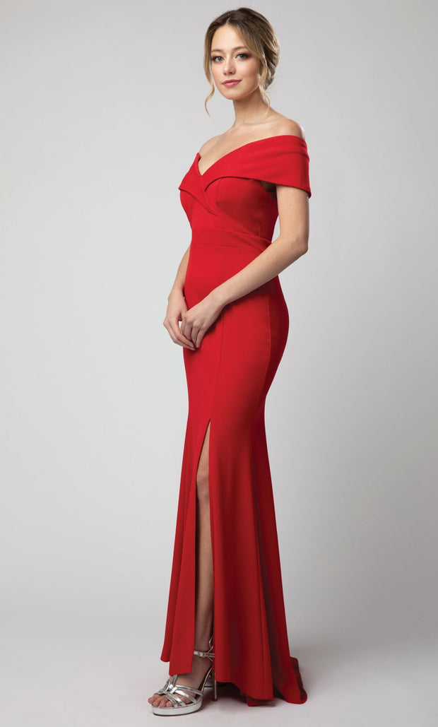 Juno - 1049 Off Shoulder Mermaid Gown With High Slit In Red