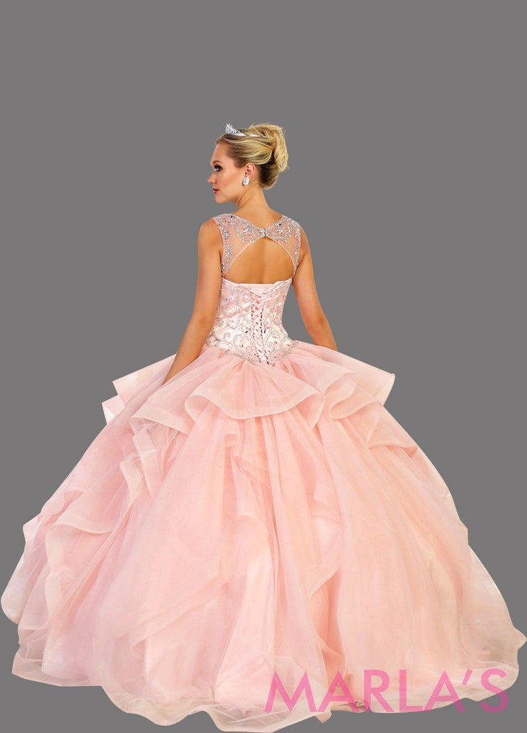 Back of Long blush pink high neck ball gown with ruffle skirt. Perfect for Engagement dress, Quinceanera, Sweet 16, Sweet 15, Debut, and light pink Wedding Reception Dress. Available in plus sizes
