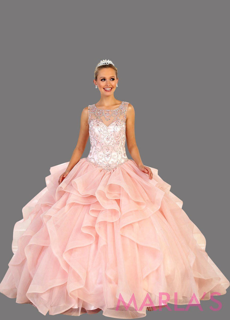 Long blush pink high neck ball gown with ruffle skirt.   Perfect for Engagement dress, Quinceanera, Sweet 16, Sweet 15, Debut, and light pink Wedding Reception Dress. Available in plus sizes