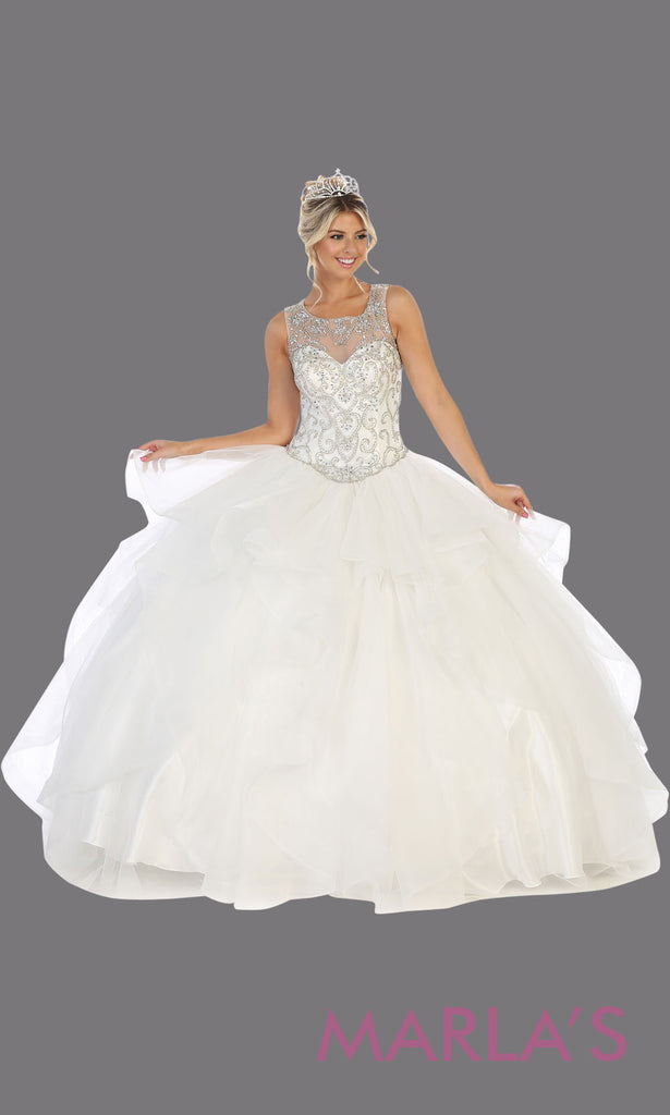 2265a1b3d1155 Long white princess quinceanera ball gown with high neck and ruffle skirt.
