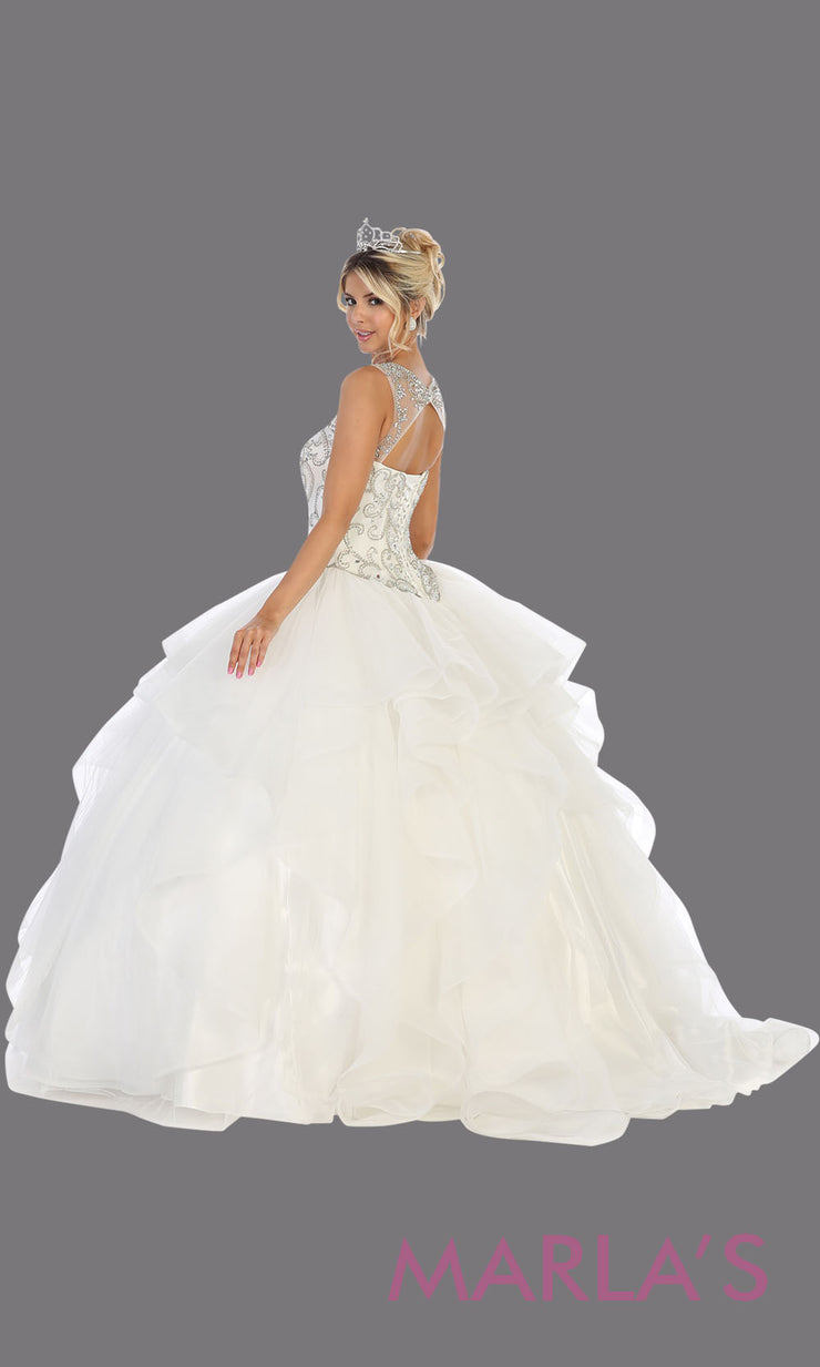 Back of Long white princess quinceanera ball gown with high neck and ruffle skirt.Perfect for white Engagement ballgown dress, Quinceanera, Sweet 16,Sweet 15,Debut and white Wedding Reception Dress. Available in plus sizes.