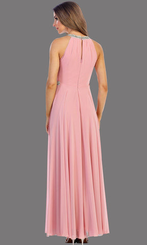 Long Pink Dress With Jewel Neckline & Belt