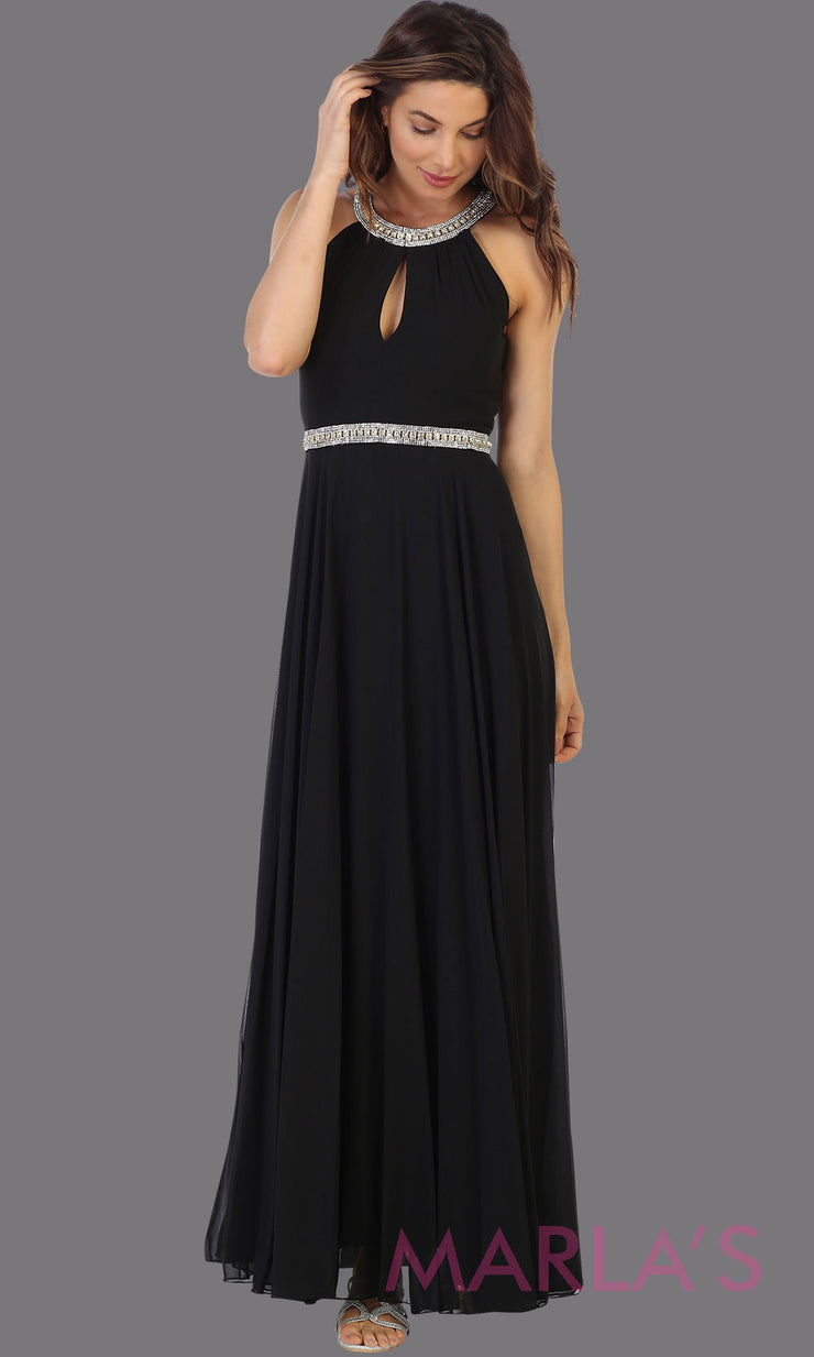 Long black high neck flowy dress with rhinestone belt. This flowy black dress is perfect as wedding guest dress, simple bridesmaid dress, evening party dress, simple black prom dress, indowestern party gown. Plus sizes available