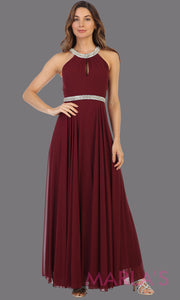 Long burgundy red high neck flowy dress with rhinestone belt. This flowy dark red dress is perfect as wedding guest dress, simple bridesmaid dress, evening party dress, simple maroon prom dress, indowestern party gown. Plus sizes available