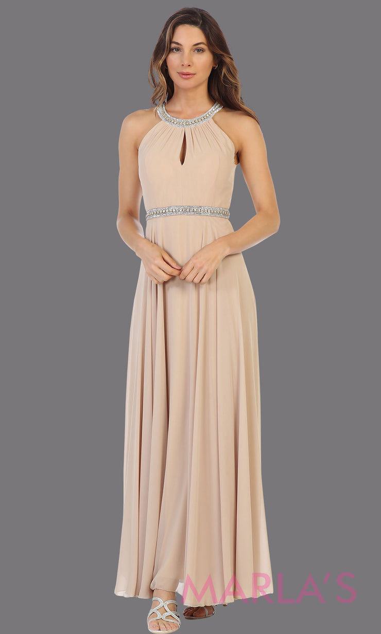 Long champagne gold high neck flowy dress with rhinestone belt. This flowy light gold dress is perfect as wedding guest dress, simple bridesmaid dress, evening party dress, simple prom dress, indowestern party gown. Plus sizes available