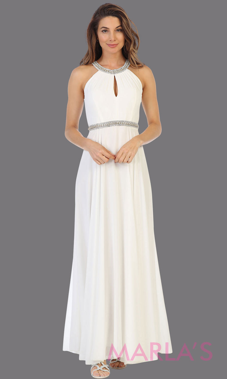 Long ivory white high neck flowy dress with rhinestone belt. This flowy ivory dress is perfect as wedding dress, simple bridal dress, civil wedding dress, court wedding gown,  ivory prom dress, indowestern party gown. Plus sizes available