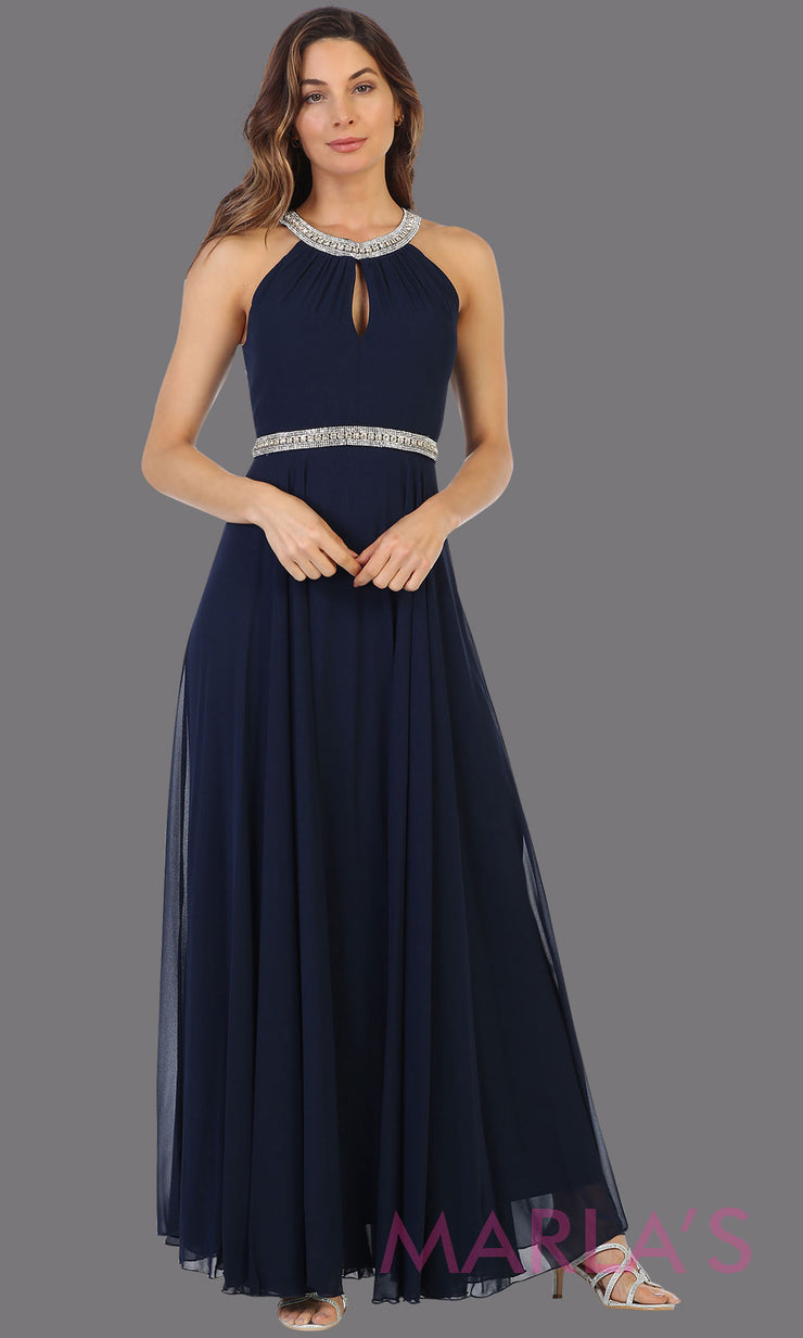 Long navy blue high neck flowy dress with rhinestone belt. This flowy dark blue dress is perfect as wedding guest dress, simple bridesmaid dress, evening party dress, simple navy prom dress, indowestern party gown. Plus sizes available