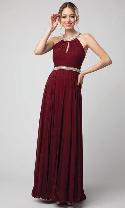 Juno - 1054 Embellished Neckline and Waist Long Chiffon Gown In Burgundy