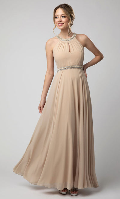Juno - 1054 Embellished Neckline and Waist Long Chiffon Gown In Champagne & Gold