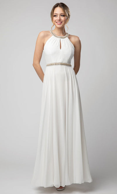 Juno - 1054 Embellished Neckline and Waist Long Chiffon Gown In White & Ivory