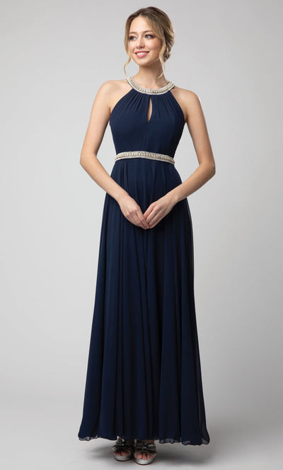 Juno - 1054 Embellished Neckline and Waist Long Chiffon Gown In Blue