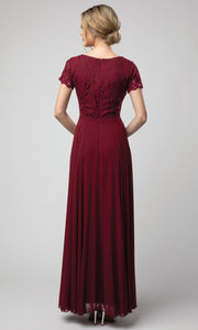 Juno - 1056 Short Sleeve Lace Bodice Chiffon A-Line Gown In Burgundy
