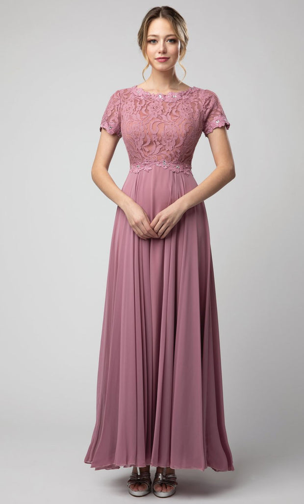 Juno - 1056 Short Sleeve Lace Bodice Chiffon A-Line Gown In Purple