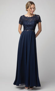Juno - 1056 Short Sleeve Lace Bodice Chiffon A-Line Gown