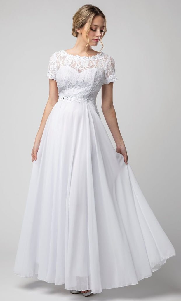 Juno - 1056 Short Sleeve Lace Bodice Chiffon A-Line Gown In White & Ivory