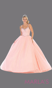 Long blush pink princess quinceanera ball gown with v neck & straps. Perfect for light pink Engagement ballgown dress, Quinceanera, Sweet 16,Sweet 15, Debut and baby pink Wedding Reception Dress. Available in plus sizes.