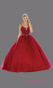 Long burgundy red princess quinceanera ball gown with v neck & straps. Perfect for dark red Engagement ballgown dress, Quinceanera, Sweet 16, Sweet 15, Debut and wine Wedding Reception Dress. Available in plus sizes.