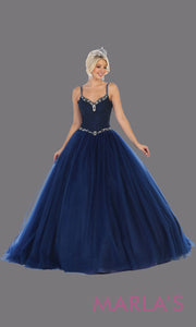 Long navy blue princess quinceanera ball gown with v neck & straps. Perfect for dark blue Engagement ballgown dress, Quinceanera, Sweet 16, Sweet 15, Debut and navy blue Wedding Reception Dress. Available in plus sizes.