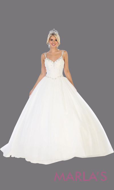 Long white princess quinceanera ball gown with v neck & straps. Perfect for pure white Engagement ballgown dress, Quinceanera, Sweet 16, Sweet 15, Debut and white Wedding bridal Reception Dress. Available in plus sizes.