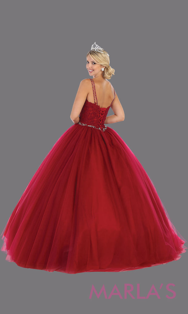 Back of Long burgundy red princess quinceanera ball gown with v neck & straps. Perfect for dark red Engagement ballgown dress, Quinceanera, Sweet 16, Sweet 15, Debut and wine Wedding Reception Dress. Available in plus sizes.