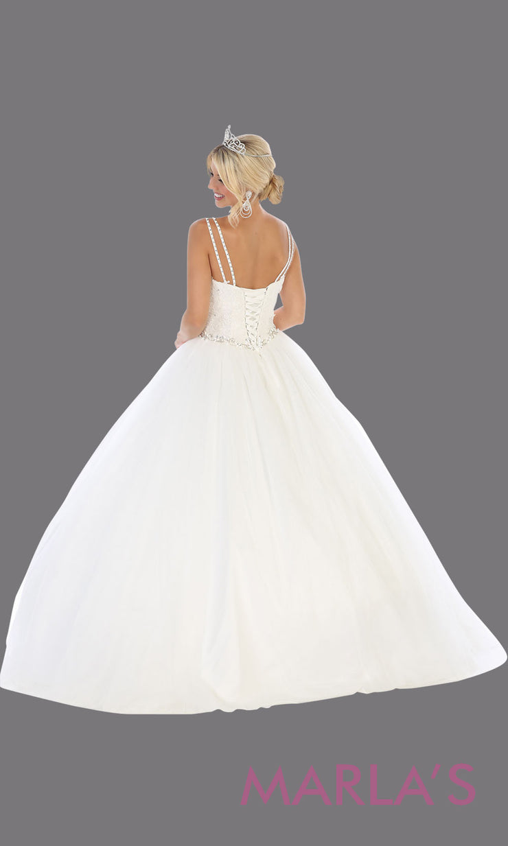 Back of Long white princess quinceanera ball gown with v neck & straps. Perfect for pure white Engagement ballgown dress, Quinceanera, Sweet 16, Sweet 15, Debut and white Wedding bridal Reception Dress. Available in plus sizes.