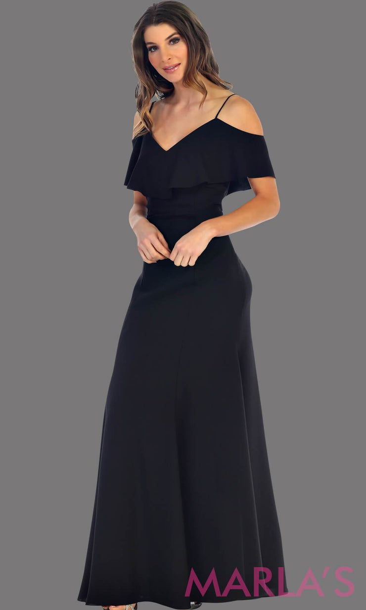 Long Black flowy dress with cold shoulder. This dress has an empire waist line and it is simple and perfect for a party, wedding guest dress, or even a gala dress. This dress is available in plus size
