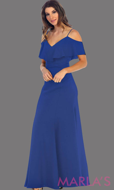 Long royal blue flowy dress with cold shoulder. This blue dress has an empire waist line and it is simple and perfect for a party, wedding guest dress, or even a gala dress. This dress is available in plus size