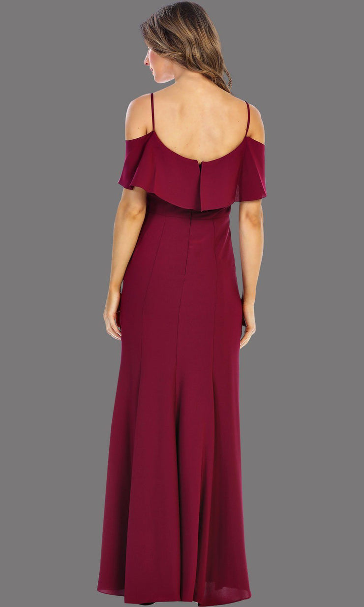 Back of long Burgundy flowy dress with cold shoulder. This dark red dress has an empire waist line and it is simple and perfect for a party, wedding guest dress, or even a gala dress. This dress is available in plus sizes