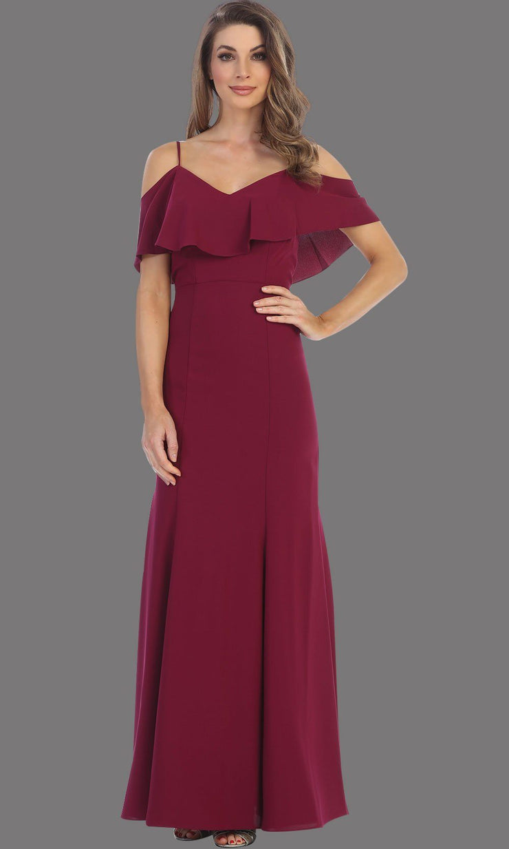 Long Burgundy flowy dress with cold shoulder. This dark red dress has an empire waist line and it is simple and perfect for a party, wedding guest dress, or even a gala dress. This dress is available in plus sizes