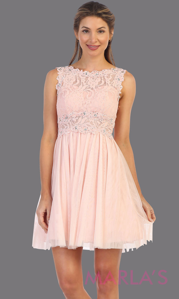 Short blush pink high neck lace grade 8 grad dress. Flowy light pink lace flowy dress perfect for grad, graduation, wedding guest dress, simple short party dress, pink cocktail dress, confirmation dress, prom date. Plus sizes avail