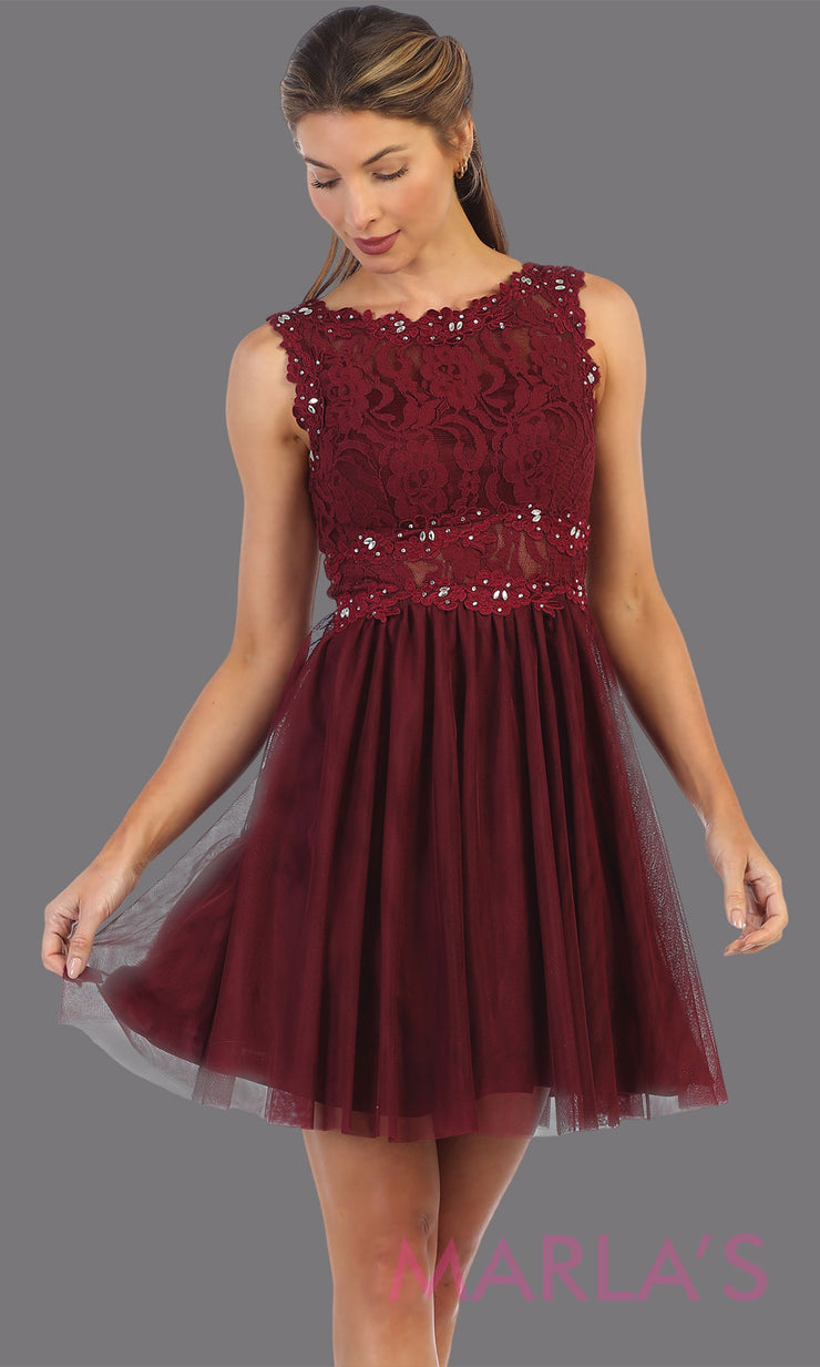 Short burgundy red high neck lace grade 8 grad dress. Flowy dark red lace flowy dress perfect for grad, graduation, wedding guest dress, simple short party dress, maroon cocktail dress, confirmation dress, prom date. Plus sizes avail