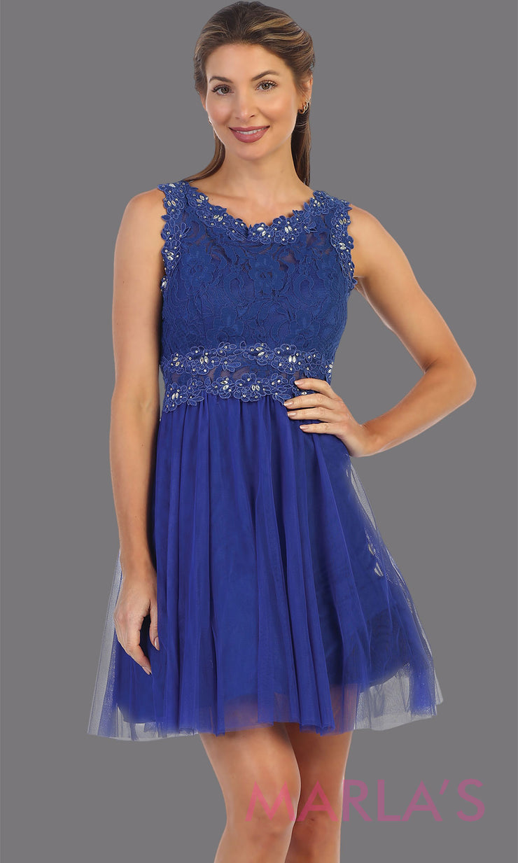 Short royal blue high neck lace grade 8 grad dress. Flowy royal blue lace flowy dress perfect for grad, graduation, wedding guest dress, simple short party dress, blue cocktail dress, confirmation dress, prom date. Plus sizes avail
