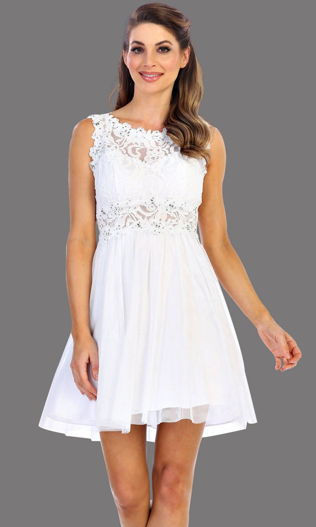 * Short Lace Bodice Silver Party Dress