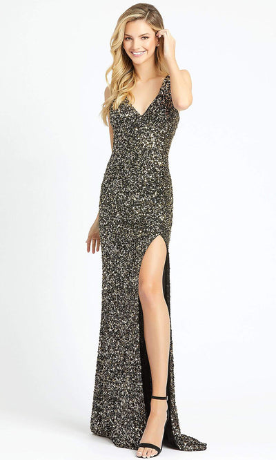 Mac Duggal - 1068L Multi-Toned Sequins V Neck Evening Gown In Black