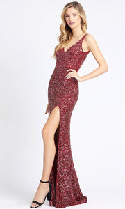 Mac Duggal - 1068L Multi-Toned Sequins V Neck Evening Gown In Red